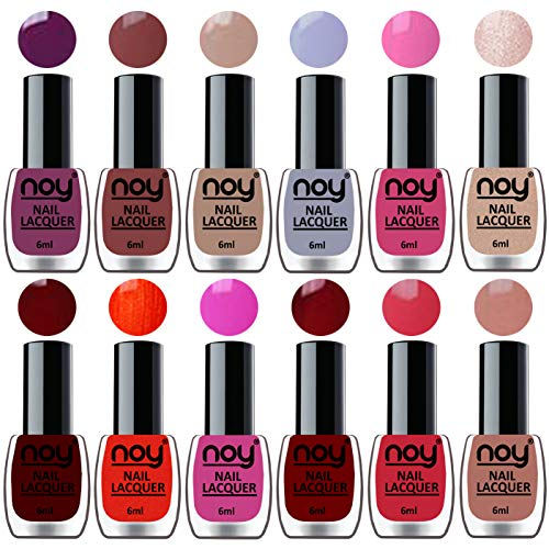 NOY® Quick Dry One Stroke Color Nail Paint Combo Offer Set of 12 in Wholesale Rate 6 ml each(Violet, Brown, Nude, Light Grey, Pink, Nude, Maroon, Orange, Pink, Red, Carrot Pink, Nude)