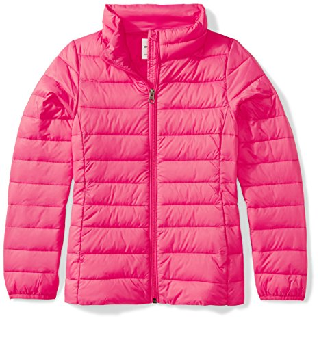 Pink Down Coat (Amazon Essentials Girls' Lightweight Water-Resistant Packable Puffer Jacket, Dark Pink, Large)