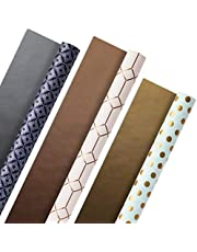 Hallmark 5EWR2435 All Occasion Reversible Wrapping Paper (Modern Metallics, Pack of 3, 120 sq. ft. ttl.) for Mothers Day, Birthdays, Bridal Showers, Baby Showers, Valentines Day and More