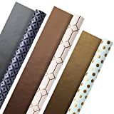 Hallmark All Occasion Reversible Wrapping Paper (Modern Metallics, Pack of 3, 120 sq. ft. ttl.) for Birthdays, Bridal Showers, Baby Showers, Valentines Day, Mothers Day and More: more info