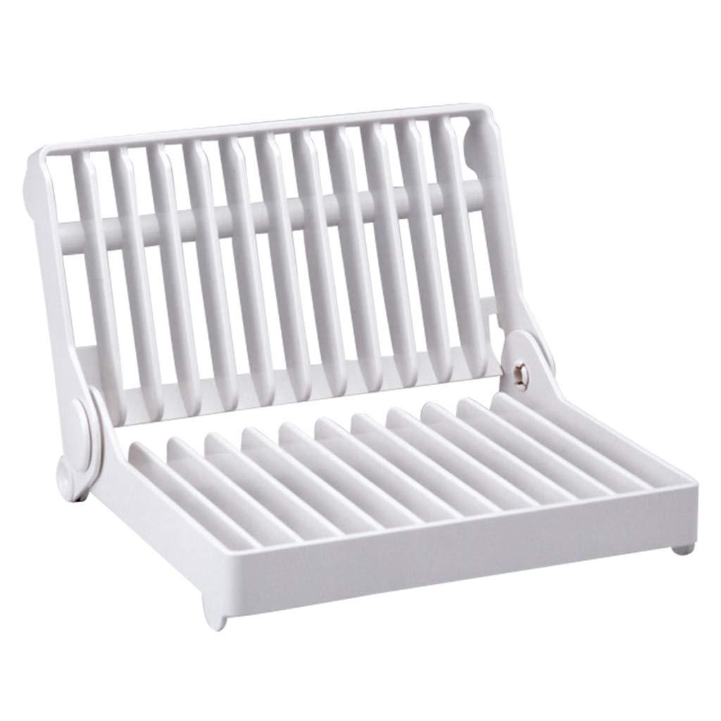 Kitchen Dish Rack, Counter Folding Drain Rack, Cutlery Storage Rack, Plastic, White, 2015.215cm