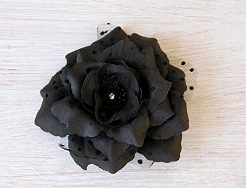 Black flower hair clip / day of dead/Halloween/ black flower brooch pin (Usa Halloween Day)