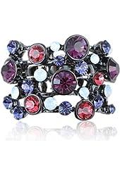 Cute Dark Gunmetal Tone Purple Tones and Stones Cluster Rhinestone Fashion Ring