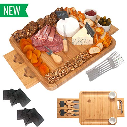 Bamboo Cheese Board and Knife Set - Wooden Charcuterie Platter & Serving Tray for Meat & Cheese with 2 Slide-Out Drawers, 6 Appetizer Forks, 6 Slate Labels, 4 Stainless Steel Knives & Bowls - (20 Pc)