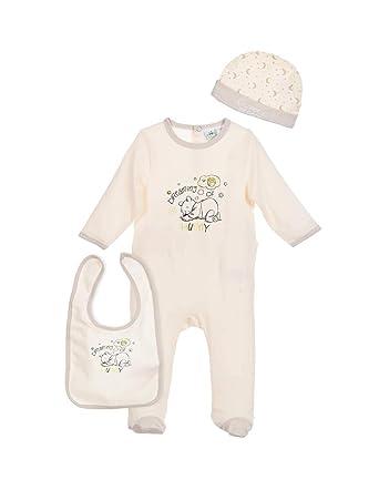 dce673b22cea Set pyjama, bonnet et bavoir bébé mixte Winnie l ourson Beige de 0 à ...