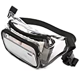 Fanny Pack, F-color Stadium Approved Clear Fanny Pack for Women Men, Black