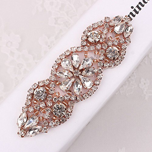 ((2pieces) Crystal Applique Small Size with Rhinestones in Silver or Rose Gold for Wedding Dress Decoration or Headpieces Garters (Rose Gold Claw))