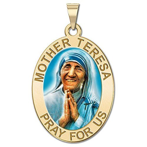 Oval Religious Medal Color PicturesOnGold.com Mother Theresa 3//4 Inch X 1 Inch in Sterling Silver