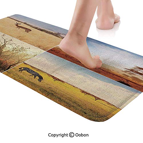 Safari Decor Rug Runner,African Safari Collages with Native Wild Savannah Animals in Exotic Lands Lonely Planet Photo,Plush Door Carpet Floor Kitchen Decor Mat with Non Slip Backing,71 X 24 Inches,Mul