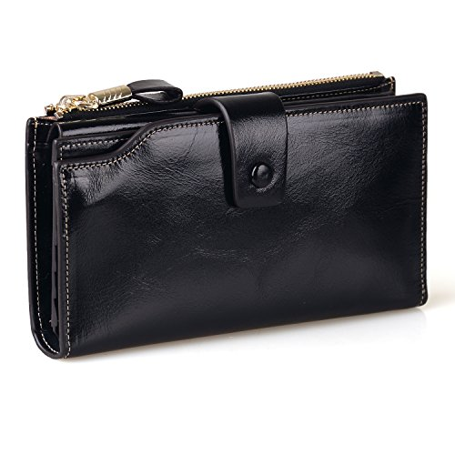 Jack&Chris Women's RFID Blocking Luxury Wax Genuine Leather Clutch Wallet Card Holder Organizer Ladies Purse, WB301 (Black) ()