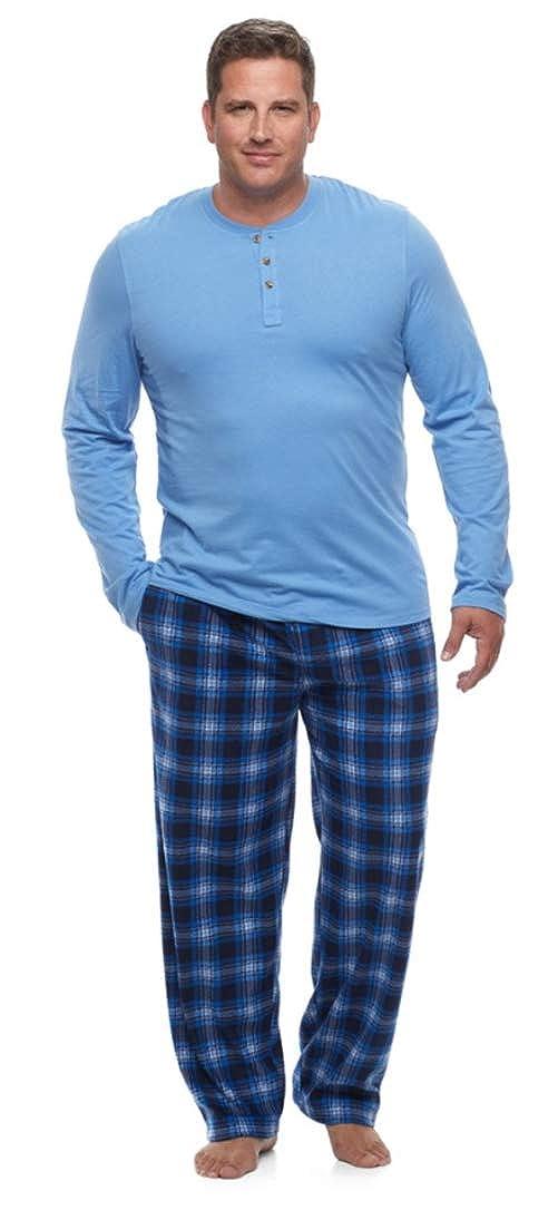 Chaps Mens Big & Tall Solid Henley & Plaid Fleece Lounge Pants Set