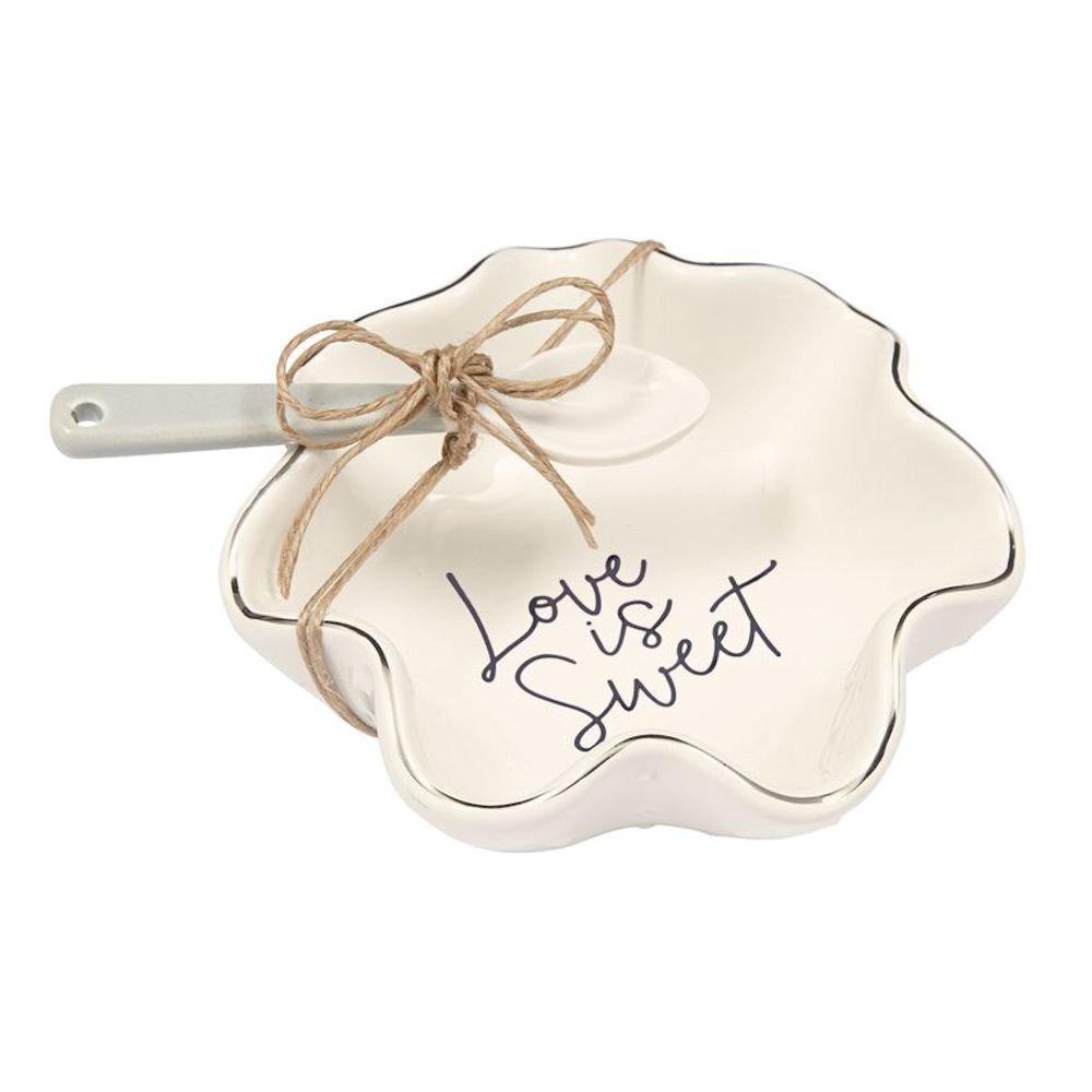 Mud Pie 4855065L Love is Sweet Set Candy Dish, White