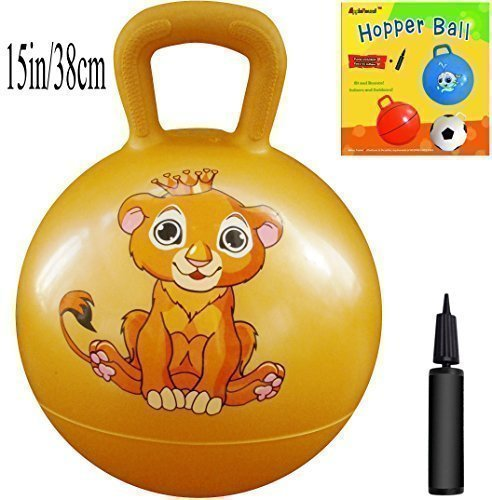 AppleRound Space Hopper Ball with Air Pump: 15in/38cm Diameter for Ages 3-5, Hop Ball, Kangaroo Bouncer, Hoppity Hop, Jumping Ball, Sit & Bounce (Lion Cub Yellow) ()