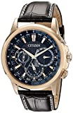 Citizen Eco-Drive Men's BU2023-04E Calendrier Gold-Tone Watch with Leather Band