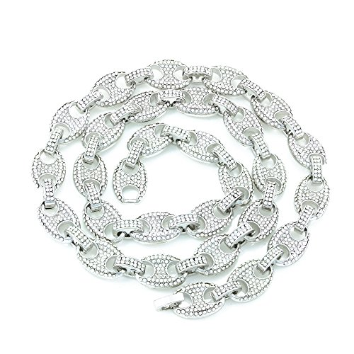 Mens Iced Out Mariner Link Necklace/Bracelet Silver Finish Lab Created Diamonds 12MM (8.5 - 30 inches) (Chain 16'') (Cubic 16' Zirconia Necklace Fashion)