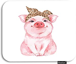 Moslion Pig Mouse Pad Farm Animal Funny Cute Piggy Wearing Leopard Bandanna Gaming Mouse Pad Rubber Large Mousepad for Computer Desk Laptop Office Work 7.9x9.5 Inch Pink