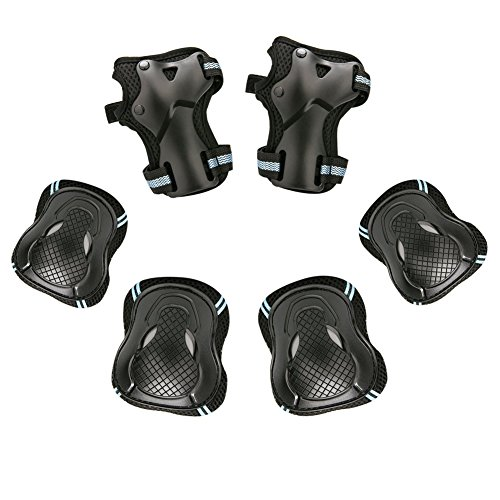 Guards Shin Roller (BARHAR Kid's Knee Pads Elbow Pads Wrist Guards for Skateboarding Cycling Inline Skating Roller Blading Protective Gear Pack of 6)