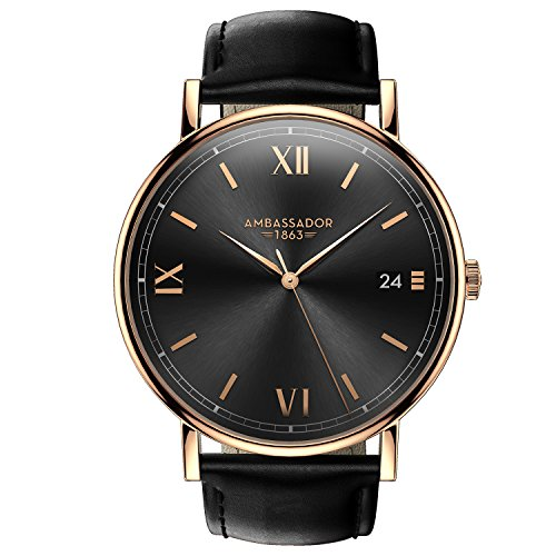 Ambassador Metal (Ambassador Luxury Watch for Men - Heritage 1863 Gold Case with Black Leather Strap with Swiss Quality)