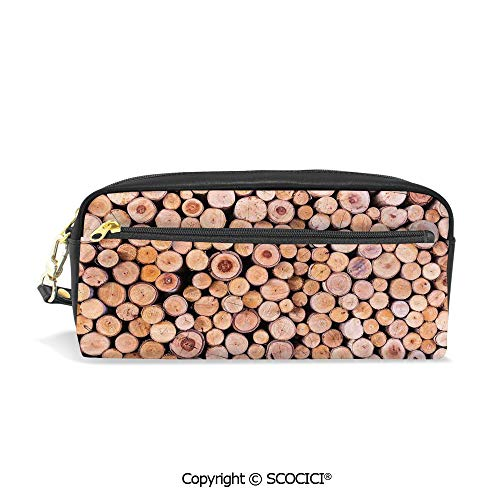 Students PU Pencil Case Pouch Women Purse Wallet Bag Mass of Wood Log Forest Tree Industry Group of Cut Lumber Circle Stack Image Waterproof Large Capacity Hand Mini Cosmetic Makeup Bag