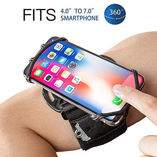 Cell Phone Running Armband Holder for iPhone,Galaxy,Google Pixel,LG.All 4~7 Inchs Smart Phones,360 Rotatable, Workout…