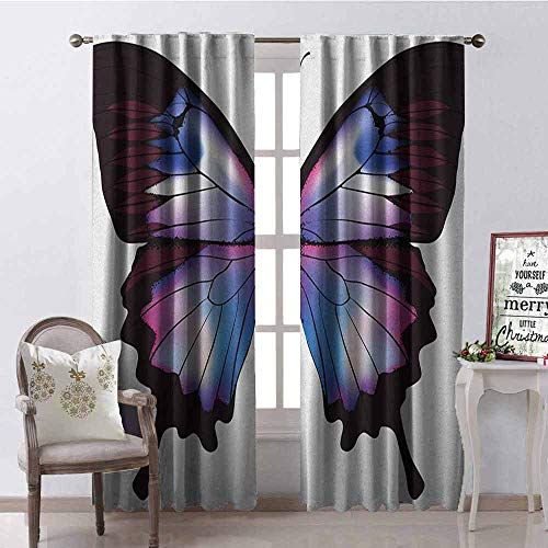 - GloriaJohnson Swallowtail Butterfly Shading Insulated Curtain Vivid Animal Figure Magical Nature Fragile Creature Soundproof Shade W52 x L72 Inch Violet Blue Maroon Pink