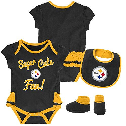(Outerstuff NFL NFL Pittsburgh Steelers Newborn & Infant Mini Trifecta Bodysuit, Bib, and Bootie Set Black, 24 Months)