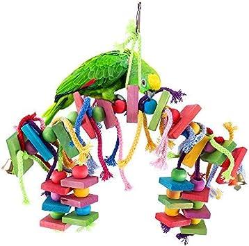 Papageienspielzeug Kauspielzeug aus Holz hängen Bunte Biss