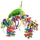 Interlink-UK Papageienspielzeug Kauspielzeug Spielzeug hängen Bunte Biss, geeignet für Papageien, Sittiche, Aras, Graupapageien,Holzblock
