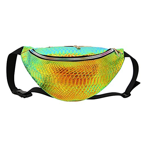 Naimo Waterproof Holographic Laser Fanny Pack Bum Bag Purse Waist Bag (Laser Gold)