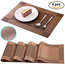 Washable Kitchen Dining Table Placemats Non-slip Woven Vinyl Restaurant Placemats Set of 4 from Ocharzy (Khaki)