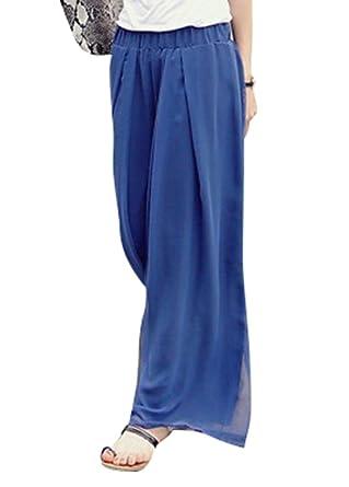 YiLianDa Damen Elegante Lange Marlene Hose Hosenrock mit Stretch Bund Blau  6XL 16ba92cdd5