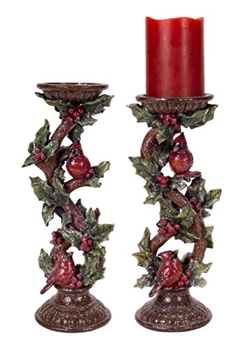 (Set of 2 Cardinal Bird and Holly Leaf Christmas Pillar Candle Holders)