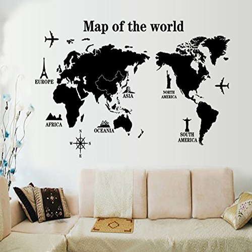 [EMIRACLEZE Christmas Gift Fashion Map of World Black Removable Mural Wall Stickers Wall Decal Art for Office Home] (Animals That Starts With Letter E)