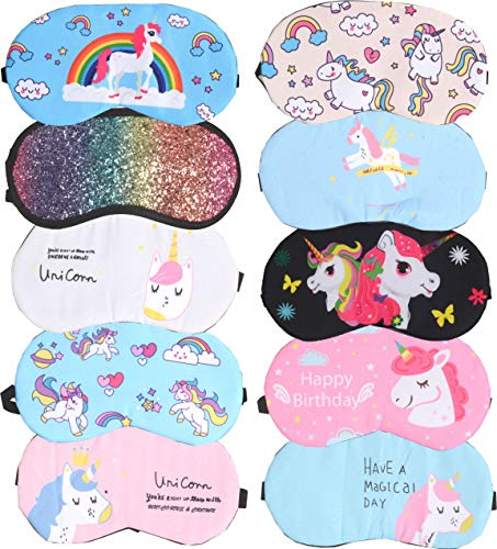Unicorn Sleeping Masks | 10 Pack Soft Plush Blindfold Cute Unicorn Horn Sleep Mask | Eye Mask Cover for Girls Women Kids | Eyeshade for Teens Girls Women Plane Travel Nap Night Sleeping