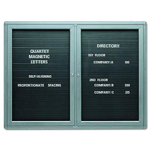 Quartet 2964LM Quartet 2-Door Enclosed Magnetic Directory, 48 x 36, Black, Gray Frame