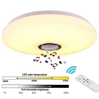 36W Música Lámpara de Techo Bluetooth Luz de Techo con Altavoz Bluetooth y Control Remoto Lámpara LED Adecuado Para el Dormitorio, Sala de Estar, Sala ...