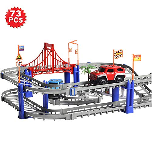 - WEIMING TOY Car Track Set, 73 Pieces Car Tracks for Kids, Flexible Race Tracks, Slot Car Racing Track Playset for 3 4 5 6 Year Old Kids Boys Girls Toddlers