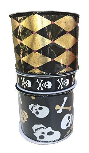 Gold and Black Diamond Design White Skull and Bones and Gold and White Skull and Bones Bundle of Three Halloween Themed (Skull Design Halloween)