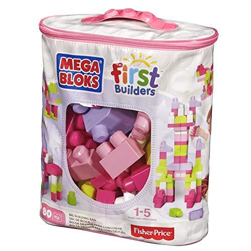 mega bloks big building bag, pink, 80 piece
