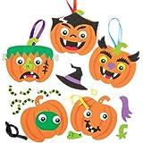 Kits de décorations en forme de citrouilles au visage grimaçant – Ensemble créatif de formes en mousse avec lesquelles les enfants pourront créer une décoration d'Halloween (Lot de 6).