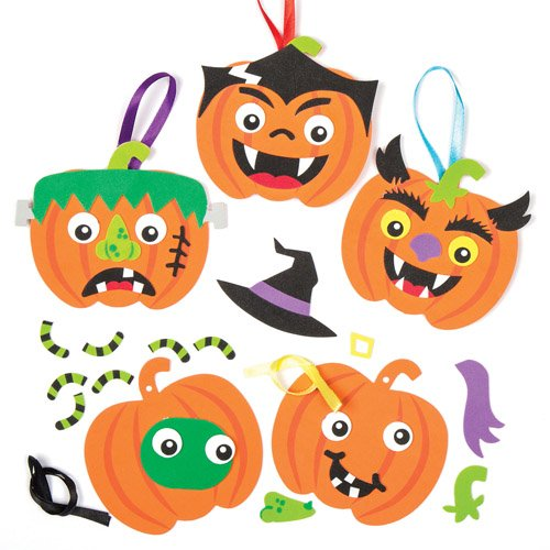 Pumpkin Funny Face Hanging Decoration Kits - Creative Set of Foam Shapes for Children to Create a Halloween Ornament (Pack of (Creative Halloween Crafts)
