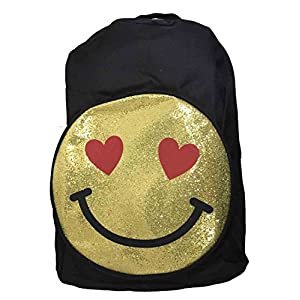 Emoji Smiley Face Glitter Backpack Back To School Kids Canvas Book Bag Day Pack