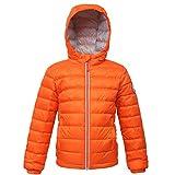 Rokka&Rolla Boys' Ultra Lightweight Hooded Packable Puffer Down Jacket (L (10/12), Vermilion Orange)