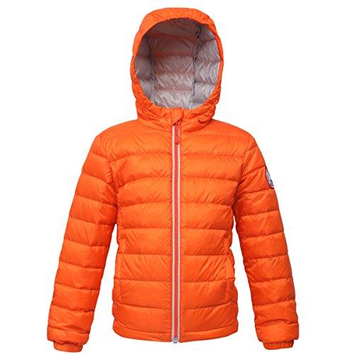 Rokka&Rolla Boys' Ultra Lightweight Hooded Packable Puffer Down Jacket (M (8), Vermilion Orange)