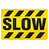 ifloortape Armor Stripe Extreme-Polyethylene Yellow Black Floor Sign ''Slow'' Ultra Heavy Duty Adhesive For Industrial Areas (23 Inch X 35 Inch)