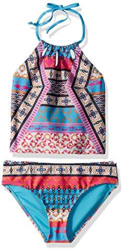 YMI Big Girls' Flamingo Tribe Tankini, Turquoise, 7/8 (Swimsuit Turquoise)