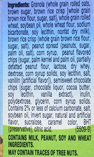 Quaker Chewy Granola Bars, Reduced Sugar Peanut Butter Chocolate Chip, 96 Count (Pack of 12)