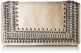 BCBG Embellished Satin Beaded Clutch, Champagne Combo, One Size