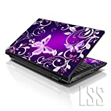 LSS 17 17.3 inch Laptop Notebook Skin Sticker Cover Art Decal Fits 16.5' 17' 17.3' 18.4' 19' HP Dell Apple Asus Acer Lenovo Asus Compaq (Free 2 Wrist Pad Included) Purple Butterfly Floral