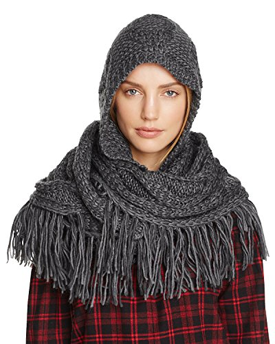 Free People Charcoal (Free People Women's Hooded Cable Knit Fringe Scarf (Marled Charcoal, One Size))